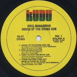 Idris Muhammad / House Of The Rising Sun label