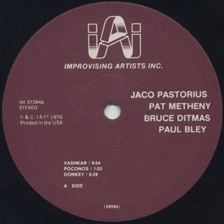 Jaco Pastorius, Pat Metheny, Bruce Ditmas, Paul Bley / Jaco label