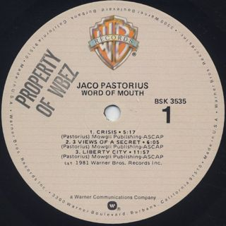 Jaco Pastorius / Word Of Mouth label