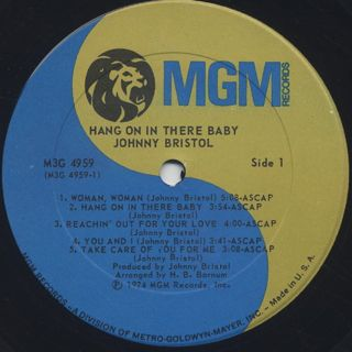 Johnny Bristol / Hang On In There Baby label