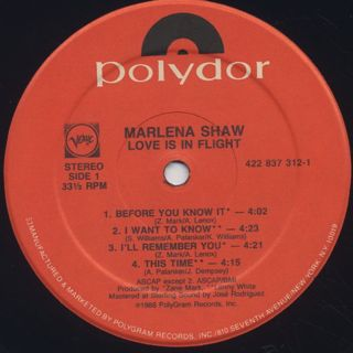 Marlena Shaw / Love Is In Flight label