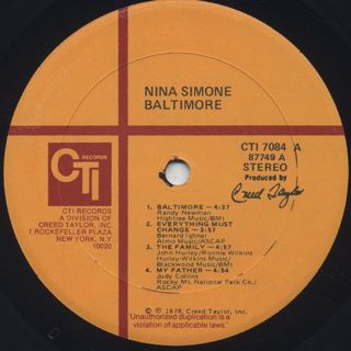 Nina Simone / Baltimore label