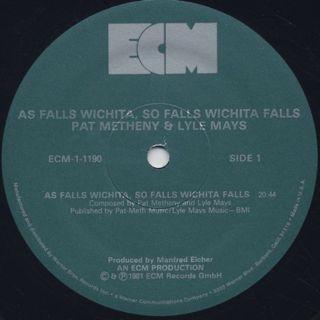 Pat Metheny and Lyle Mays / As Falls Wichita, So Falls Wichita Falls label