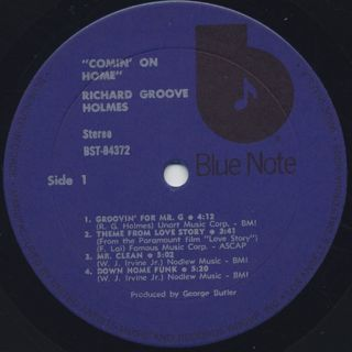 Richard Groove Holmes / Comin' On Home label