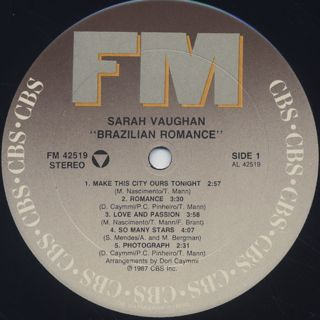Sarah Vaughan with Milton Nascimento / Brazilian Romance label
