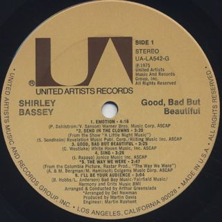 Shirley Bassey / Good, Bad But Beautiful label