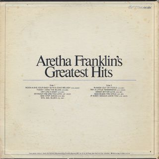 Aretha Franklin / Greatest Hits back