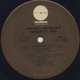 Aretha Franklin / Greatest Hits label