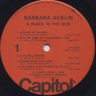 Barbara Acklin / A Place In The Sun label