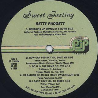 Betty Padgett / Sweet Feeling label