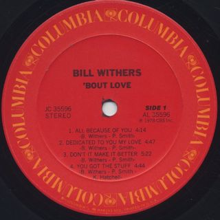 Bill Withers / 'Bout Love label