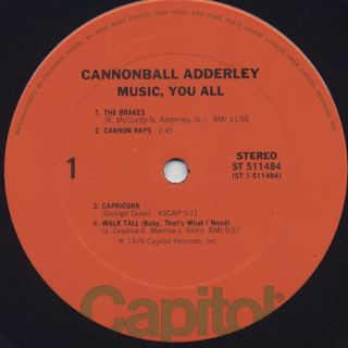 Cannonball Adderley Quintet / Music, You All label