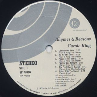 Carole King / Rhymes & Reasons label