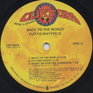 Curtis Mayfield / Back To The World label