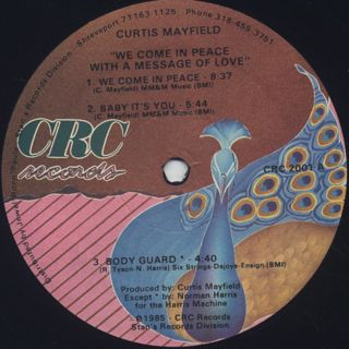 Curtis Mayfield / We Come In Peace With A Message Of Love label