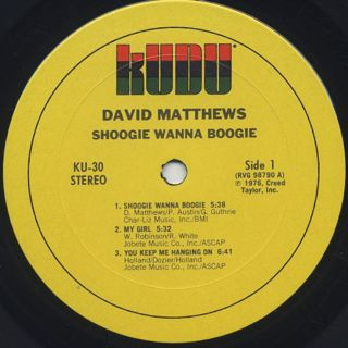 David Matthews with Whirwind / Shoogie Wanna Boogie label