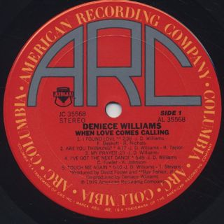 Deniece Williams / When Love Comes Calling label