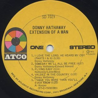 Donny Hathaway / Extension Of A Man label