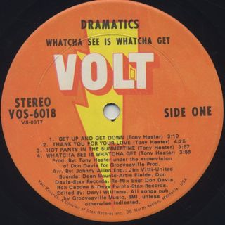 Dramatics / Whatcha See Is Whatcha Get label