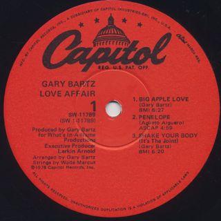 Gary Bartz / Love Affair label