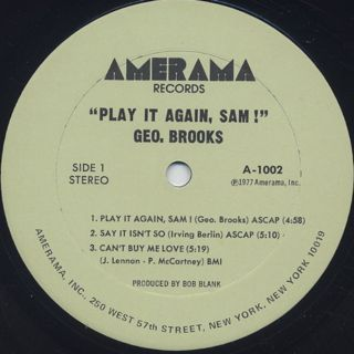 Geo. Brooks / Play It Again, Sam! label