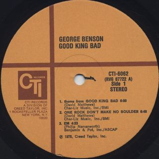 George Benson / Good King Bad label