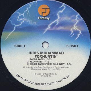 Idris Muhammad / Foxhuntin' label