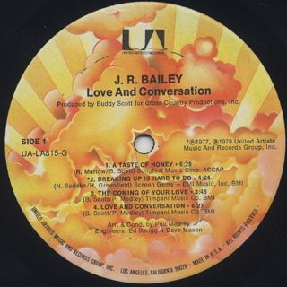 J.R. Bailey / Love And Conversation label