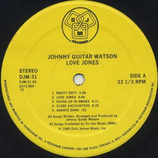 Johnny Guitar Watson / Love Jones label