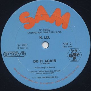 K.I.D. / Don't Stop c/w Do It Again label