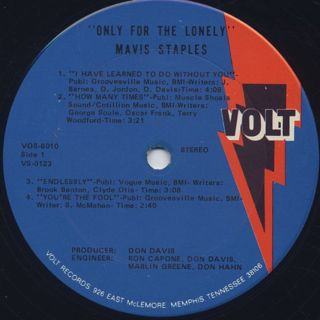 Mavis Staples / Only For The Lonely label