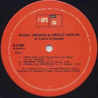 Michal Urbaniak & Urszula Dudziak / Tribute To Komeda label