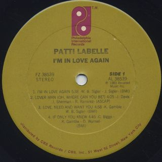 Patti Labelle / I'm In Love Again label