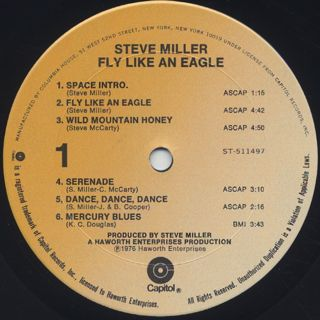 Steve Miller Band / Fly Like An Eagle label