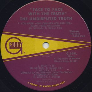 Undisputed Truth / Face To Face With The Truth label