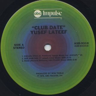 Yusef Lateef / Club Date label