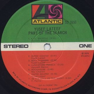 Yusef Lateef / Part Of The Search label