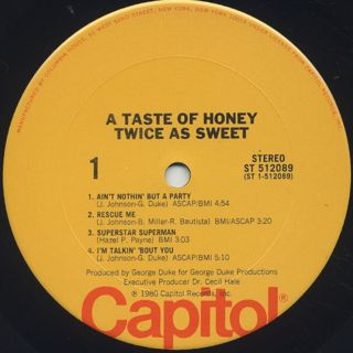 A Taste Of Honey / Twice As Sweet label