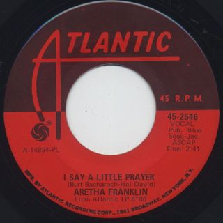 Aretha Franklin / The House That Jack Built c/w I Say A Little Prayer back
