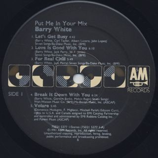 Barry White / Put Me In Your Mix label