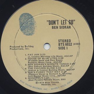 Ben Sidran / Don't Let Go label