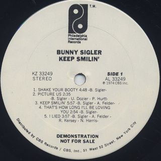 Bunny Sigler / Keep Smilin' label