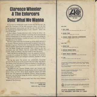 Clarence Wheeler & The Enforcers / Doin' What We Wanna back