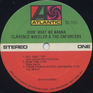 Clarence Wheeler & The Enforcers / Doin' What We Wanna label
