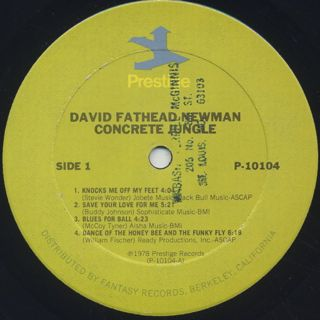 David Fathead Newman / Concrete Jungle label