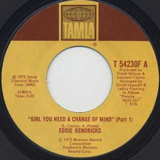 Eddie Kendricks / Girl You Need A Change Of Mind (45) back