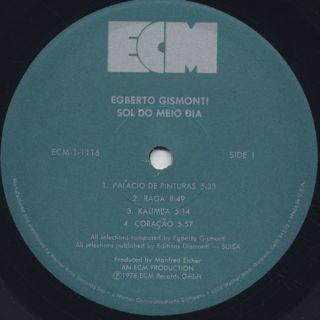 Egberto Gismonti / Sol Do Meio Dia label