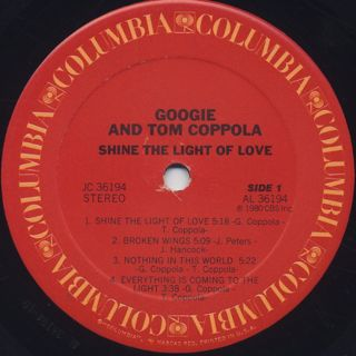 Googie And Tom Coppola / Shine The Light Of Love label