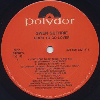 Gwen Guthrie / Good To Go Lover label