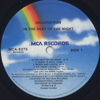 Imagination / In The Heat Of The Night label